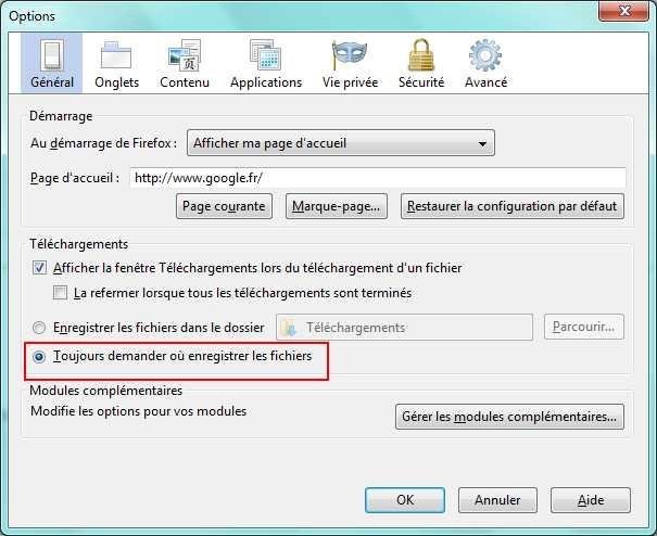 Firefox demander dossier de téléchargement